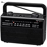 PR-157 AM/FM 2 Band Portable Radio AC operated or operated by dry battery (D Size x 4pcs, battery not included), black