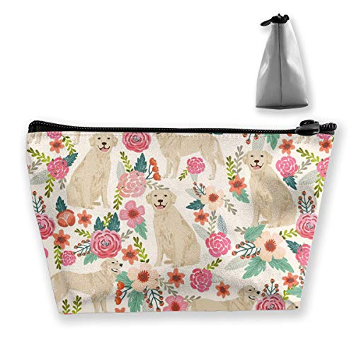 Golden Retriever Floral Dogs Storage Bag Pouch Portable Gift for Girls Women Large Capacity Cosmetic Train Case for Makeup Brushes Jewelry Casual Travel Bag ()
