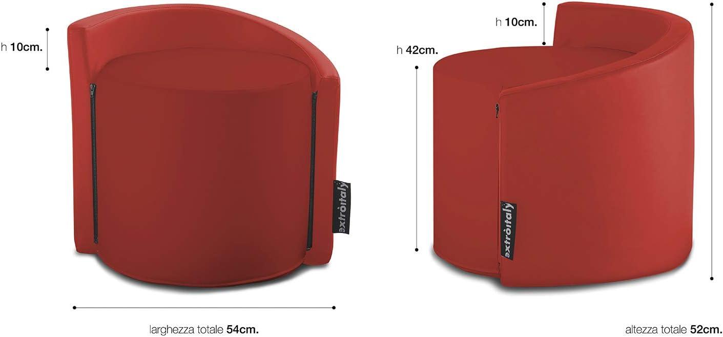 SFODERABILE SCHIENALE IMBOTTITO INTERNO IN POLIURETANO INGOMBRO MIS.54X52 cm. POUF ONDA mono BIANCO//BIANCO MIS.44 h.42 CM