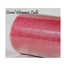 LA Linen™ Wedding GLITTER Tulle Roll 6in x 30ft CORAL Sparkling Tulle (10 yards)