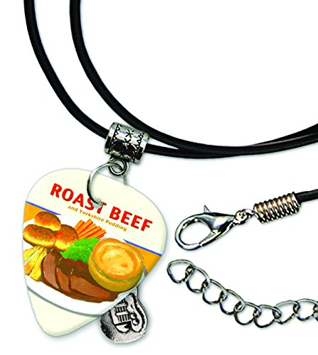 Roast Beef Guitar Pick Leather Cord Necklace (MW)