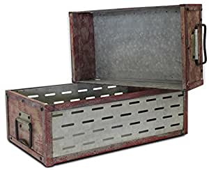 Wood/Metal Red Storage Bin/Tray, Set of 2, Rectangular (Industrial, Vintage, Distressed, With Handles, Rectangle) | by Urban Legacy