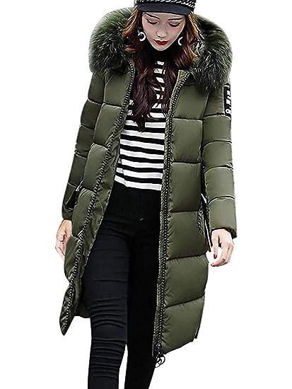 ORANDESIGNE Doudoune Longue Manteau Femme Zippé Amincissant épais Chaud  avec Col Fourrure Comfortable avec Capuche Longue b0d8f3cc8b15