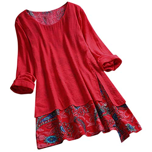 GHrcvdhw Women Plus Size Blouse Tunic Shirt Vintage Patchwork Irregular Hem Print Shirt Dress Shirt Top Red