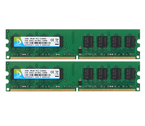 DUOMEIQI 4GB Kit (2 X 2GB) 2RX8 DDR2 667MHz DIMM PC2-5300 PC2-5400 PC2-5300U CL5 1.8v 240 PIN 5300U Non-ECC Unbuffered Desktop Memory RAM Module Compatible with Intel AMD System ()