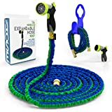 Expanding Garden Hose Kit [ The Hose Co ] Green, Blue Double Latex KinkProof Long-Lasting 100 ft Hose, Copper Fittings, 8 Function Nozzle & Bonus Wall Hook