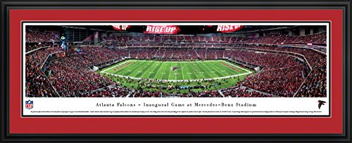 Atlanta Falcons 1st Game at Mercedes-Benz Stadium - Double Mat, Deluxe Framed NFL Print by Blakeway Panoramas