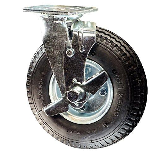 8 Inch Pneumatic Tire Swivel Caster w/ Brake - 8