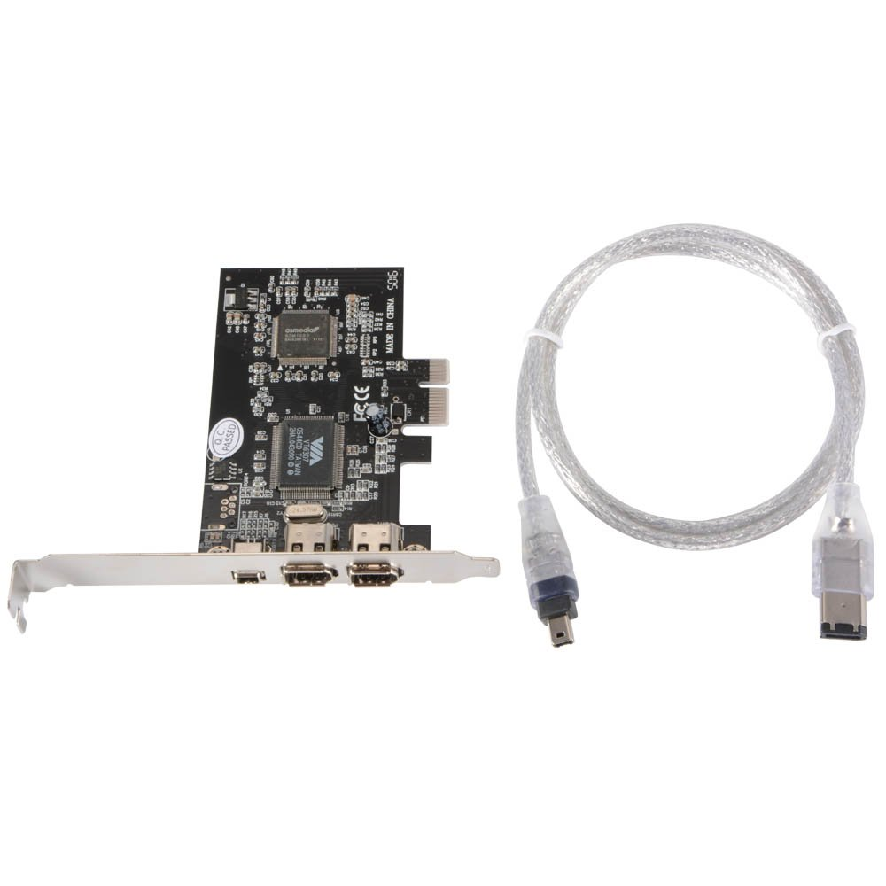 XCSOURCE PCI-E Express FireWire 1394a 1-Lane iLINK IEEE1394 Expansion Controller Adapter Card for Desktop PC AC698