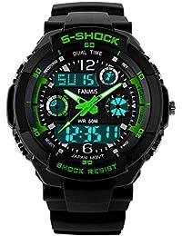 Fanmis Unisex Sport Watch Multifunction Green Led Light Digital Waterproof S - Shock Wristwatch (Green)