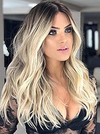 Echo Wig Blonde Wigs for Women s Gift Natural Wavy Lace Front Wigs  Synthetic Platinum Blonde Dark 1a656a0aca