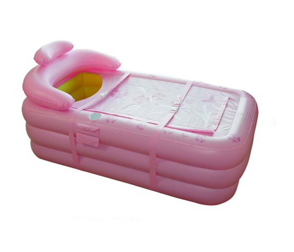 Inflatable Bathtub, Folding Bathtub Portable Adult Bathtub Double Curved Portable Plastic Swimming Pool, Bathtub (Color : Pink)