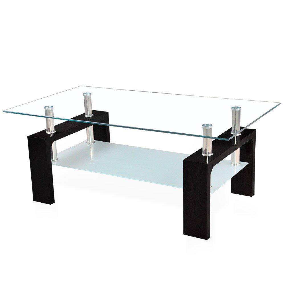 Corium Couchtisch Wohnzimmertisch 100 x 50 x 45 cm Glassplatte Tisch Glastisch Beistelltisch Schwarz