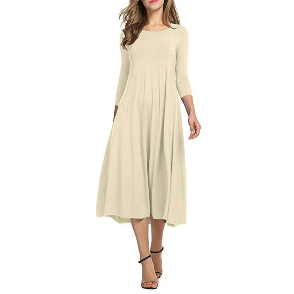 Kaitobe Women's Dresses Ruched Half Sleeve Loose Maxi Dresses Swing A-Line Dress Beach Sundress Evening Party Cocktail Beige
