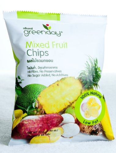 Greenday Vacuum-fried Mixed Fruit Chips, 100% Natural, Healthy Snack Low Fat, 55g. (Pack3)