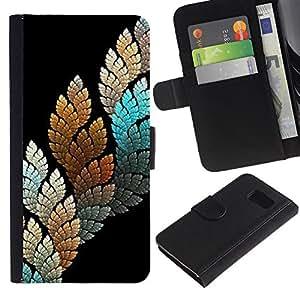 Billetera de Cuero Caso Titular de la tarjeta Carcasa Funda para Samsung Galaxy S6 SM-G920 / Black Teal Nature Leaf / STRONG