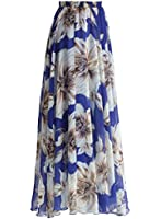 Annflat Women's Floral Printed Frill Chiffon Maxi Skirt