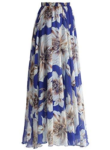 Blue Floral Print Skirt (Annflat Women's Boho Floral Print High Waist Pleated Chiffon Long Maxi Skirt Medium Blue)