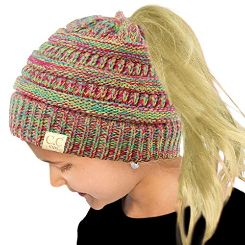 CC Kids Ponytail Messy Bun BeanieTail Soft Winter Knit Stretch Beanie Hat Quad Rainbow