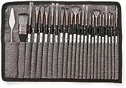 Aibecy Kit com 23 pincéis de pintura de diferentes tamanhos; para aquarela, pintura a óleo e acrílica; para pi