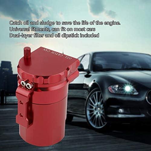 rouge Le r/écup/érateur dhuile universel /à chicanes universel de voiture en aluminium de duret/é /élev/ée peut renifler de r/éservoir de r/éservoir avec des raccords et Tube