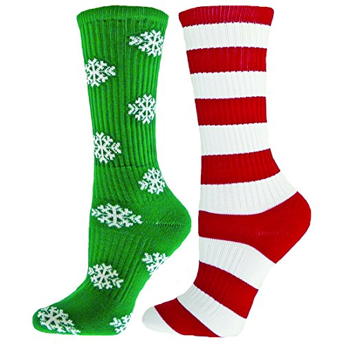 Red Lion Snowflake Mismatched Athletic Sport American Made Crew Socks