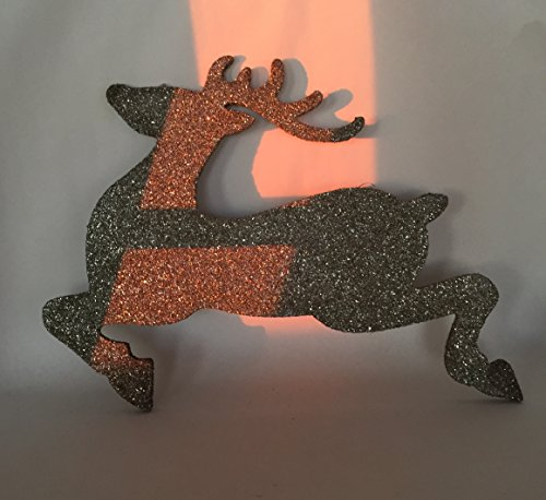 Large Glitter Deer Christmas Tree Topper/Decoration/Wall Decor, Silver/Gold - For Wall, Wreath, Mantle, Christmas Tree Decoration (Christmas Tree Farm Hunters)