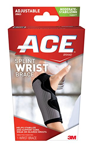 ACE Splint Wrist Brace, Reversible, One Size Adjustable, America's Most Trusted Brand of Braces and Supports, Money Back Satisfaction Guarantee - Ace Brace