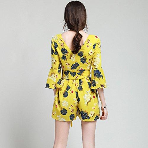 La Sra Encaje De Seda Impresa Siamés Culottes Yellow