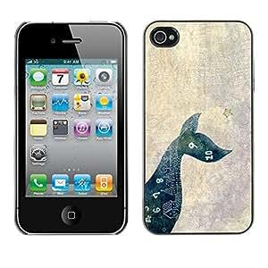 FECELL CITY // Duro Aluminio Pegatina PC Caso decorativo Funda Carcasa de Protección para Apple Iphone 4 / 4S // Mathematics Dog Pet Minimalist