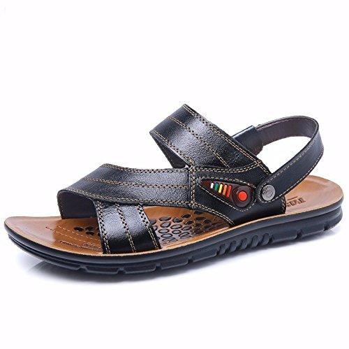 estate Il nuovo Spiaggia scarpa Uomini vera pelle sandali vera pelle traspirante Tempo libero scarpa Uomini Taglia larga sandali ,nero,US=8,UK=7.5,EU=41 1/3,CN=42