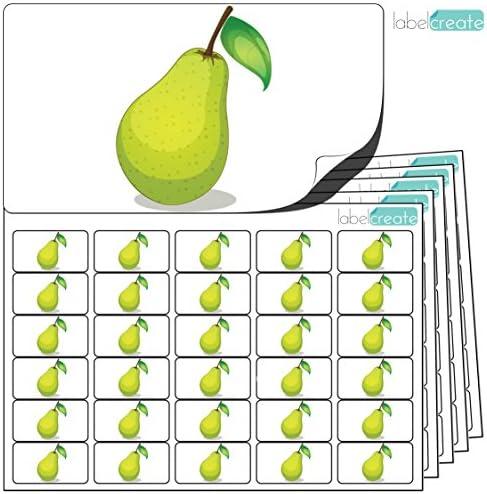480 x Aufkleber - Birne (38 x 21 mm). Hochwertige selbstklebende Etiketten mit Fruchtmotiv von LabelCreate.