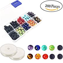 Lava Beads Kit,8MM Chakra Beads and Black Colored Lava Rock Stone Round Loose Beads Kit for Jewelry Making-Silver Spacer Beads 2 Crystal Strings Assorted Colors for Essential Oil Jewelry Making