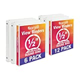 Samsill Economy 3 Ring View Binders, .5 Inch Round Ring, Customizable Clear View Cover, White, Bulk Binders - 6 Pack