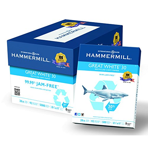 Hammermill 86700 Great White Recycled Copy Paper, 92 Brightness, 20lb, 8-1/2 x 11 (Case of 5000 Sheets)