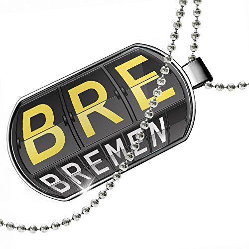 Bremen Port - Dogtag BRE Airport Code for Bremen Dog tags necklace - Neonblond