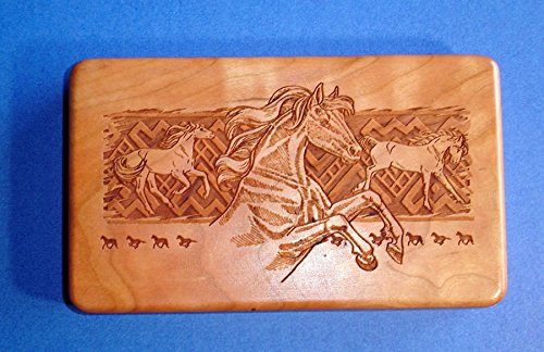 Western Decor Horses Design Laser Engraved Cherry Wood Travel Jewelry Case Usa by Western Buckle