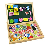 Tribe Wooden Writing Puzzle Box Magnetic Number Learning Board Jigsaw Drawing Blackboard Easel Toy Educational Play Set for Kids 3 4 5 Years Old, Number Pattern by CONGYUAN TOYS FACTORY