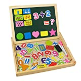 Tribe Wooden Writing Puzzle Box Magnetic Number Maths Learning Board Jigsaw Drawing Blackboard Easel Toy Educational Play Set for Kids 3 4 5 Years Old