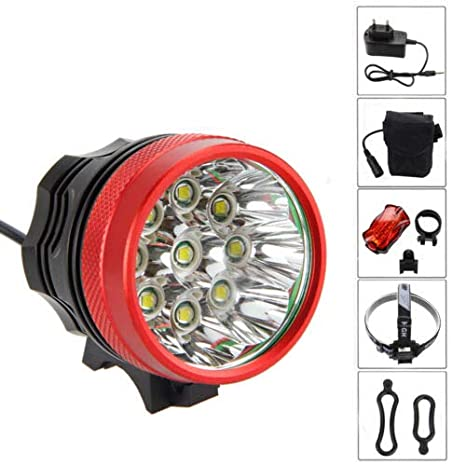 20000LM 9x XM-L T6 LED Bike Front Light Headlamp Taillight Rechargeable Battery