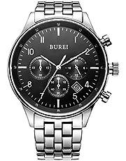 BUREI Herren Chronograph Armbanduhr Schwarzem-Zifferblatt mit Saphirglaslinse Datum Kalender und Edelstahl Armband Männer