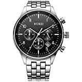 BUREI Men Big Face Chronograph Watches with Black Dial Stainless Steel Band