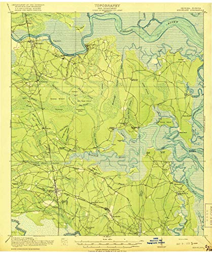YellowMaps Kingsland GA topo map, 1:62500 Scale, 15 X 15 Minute, Historical, 1918, 19.9 x 16.6 in - Tyvek
