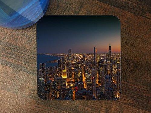 (Chicago Skyline Silicone Drink Beverage Coaster 4)