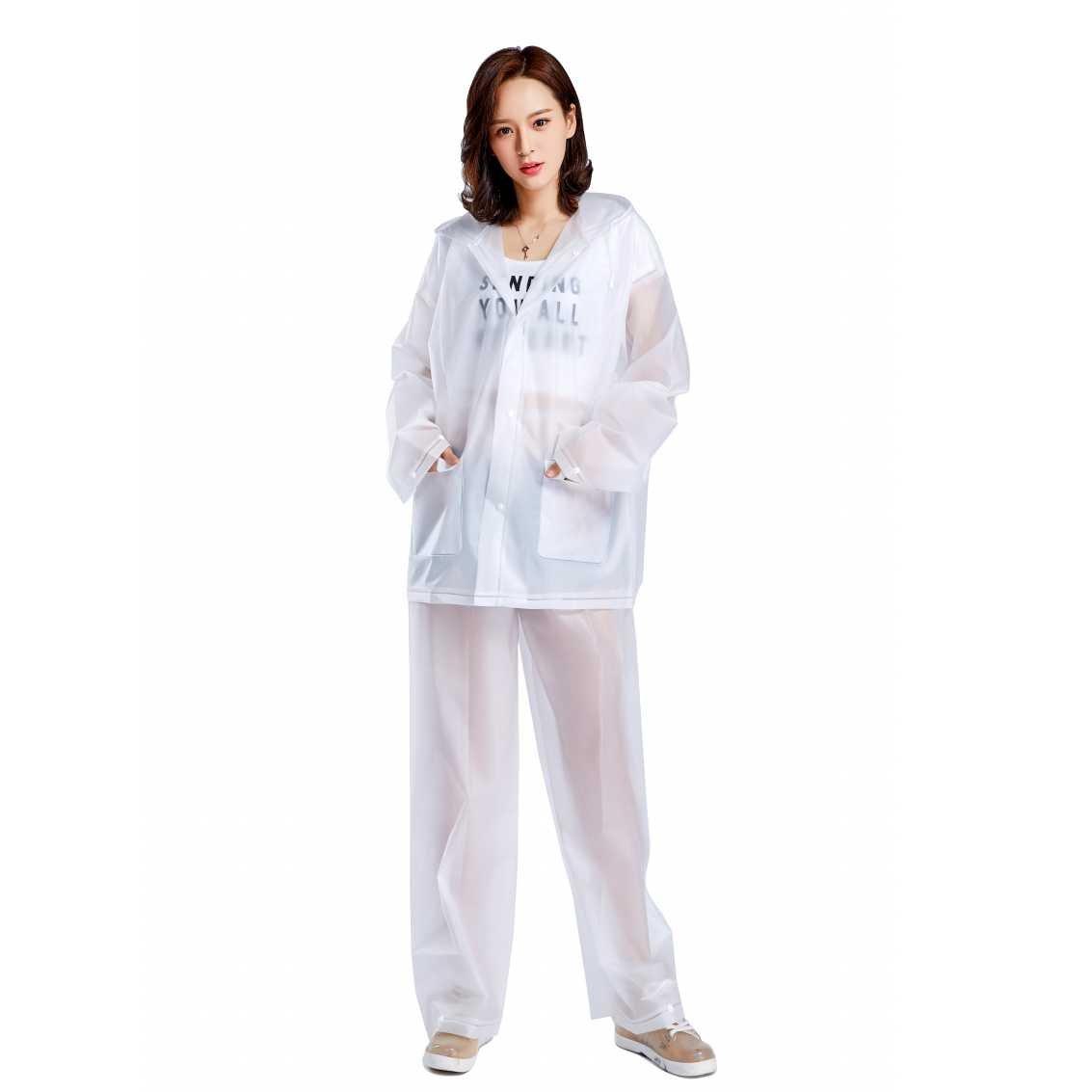 AiYoYo Lluvia Pantalones y Rain Coat con Traje Impermeable Reutilizable Resistente al Agua EVA Abrigo Lluvia para La Caza Camping y el Uso Diario