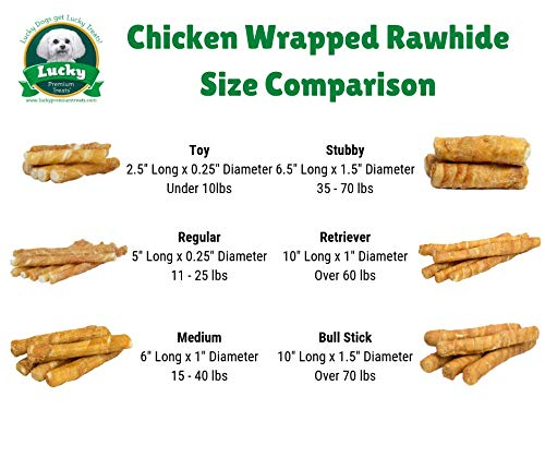 Lucky Premium Treats Chicken Wrapped Rawhide Dog Treats, All Natural Gluten Free Dog Treats for Small Dogs, 25 Chews