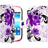Juju Village Purple Hot Pink Black Flowers PU Leather Wallet Case Cover Skin For Samsung Galaxy Fame S6810 With Screen Protector