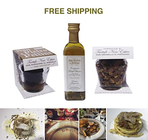 Italy White Wine (Truffle set: Black summer truffle carpaccio with pistachios 45 g, Olive oil with white truffle 55 ml and Black summer truffle with Marsala wine 30 g, San Pietro a Pettine / Italy)