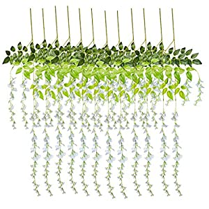 Artificial Flowers Wisteria Wedding Birthday Party Home Garden Decorations Artificial Greenery Fake Hanging Garland Vine Rattan Plants Silk Flowers Gazebo Archway Wall Floral Backdrop Decor 12pcs 84