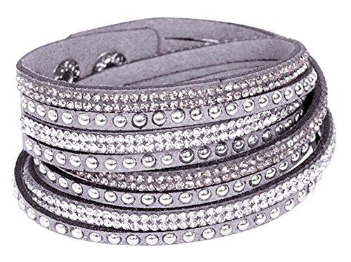 RoseSummer New Fashion Leather Wrap Wristband Cuff Punk Crystal Rhinestone Bracelet Bangle - Punk Shop Fashion
